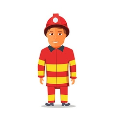 Cartoon firefighter character isolated on white vector