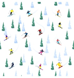 Ski hill seamless pattern vector