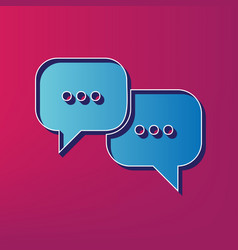 speech bubbles sign  blue 3d printed icon vector image