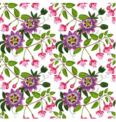 Fuchsia and passiflora seamless pattern vector