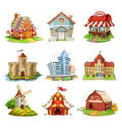 Houses and castles buildings 3d icons set vector