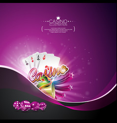 on a casino theme with poker cards and gambling vector image