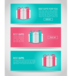 Banners with gift box vector