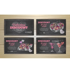 Set of valentine discount cards vector