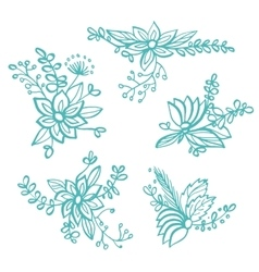 Set of hand drawn linear floral compositions vector
