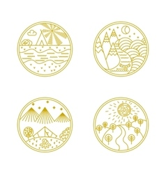 Linear badges and logo vector image