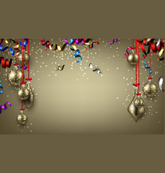 background with christmas balls and serpentine vector image vector image