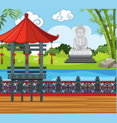 Buddha statue by the river vector