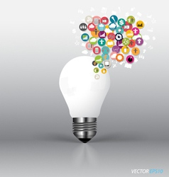 Bulb with cloud of colorful application vector