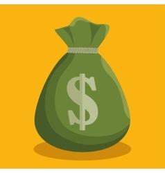 Cartoon green bag money cash icon vector