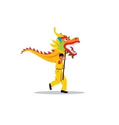 Chinese dragon and a man dancing in traditional vector image vector image