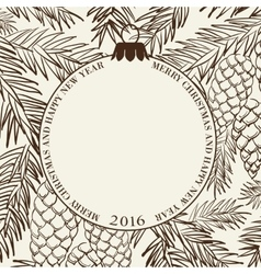 Christmas frame with pinecone vector