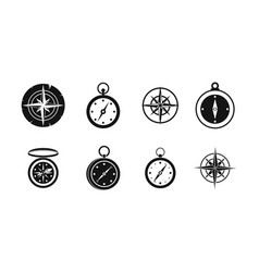 compass icon set simple style vector image