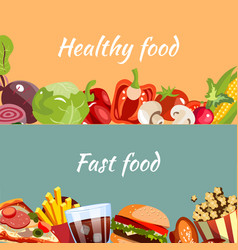 concepts for fast food and healthy food vector image vector image