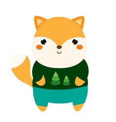 cute fox cartoon kawaii animal character in vector image