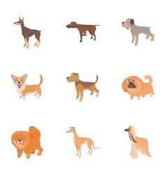 Faithful friend dog icons set cartoon style vector image vector image