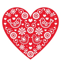 Folk art Valentines Day heart- love wedding vector image vector image