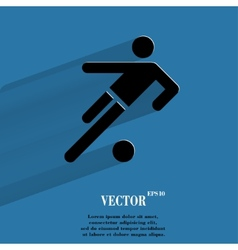 Football player flat modern web button with long vector