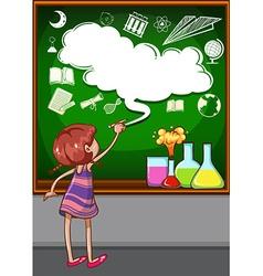 Girl writing on the blackboard vector