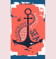 Hand drawn label with an anchor and lettering vector