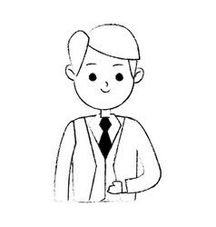 Handsome man in suit icon image cute cartoon vector