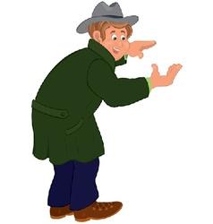 Happy cartoon man in gray hat and coat vector image vector image
