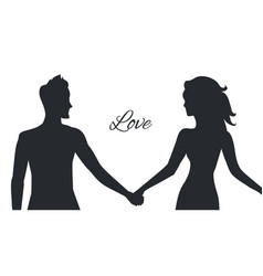 Love of man and woman depicted in couple postures vector