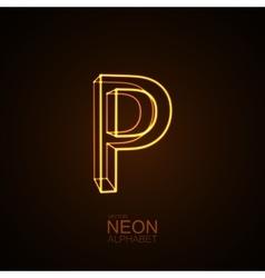 Neon 3d letter p vector