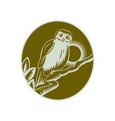 Owl perched on a tree branch vector