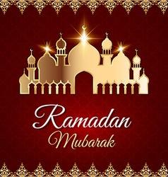 Ramadan mubarak greeting card with mosque vector