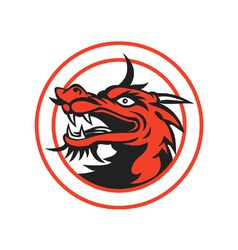 Red chinese dragon head circle vector