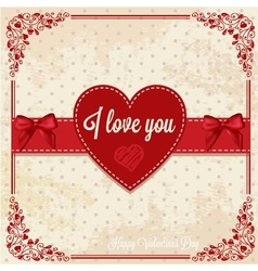 retro card with heart vector image