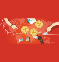 Ripple coin decrease exchange value digital vector