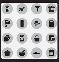 set of 16 editable cooking icons includes symbols vector image vector image