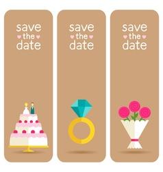 Set of 3 stylish banners wedding invitations vector image