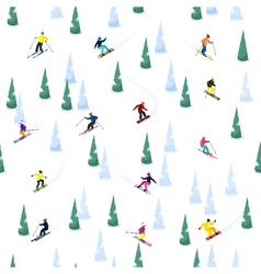 Ski hill seamless pattern vector