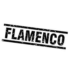 Square grunge black flamenco stamp vector