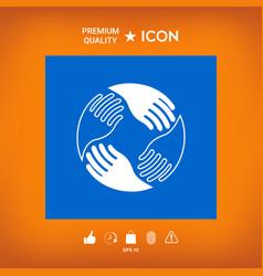 Teamwork hands human connection logo vector