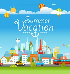 Vacation travelling concept with logo Summer vector image vector image