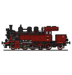 Vintage red steam locomotive vector