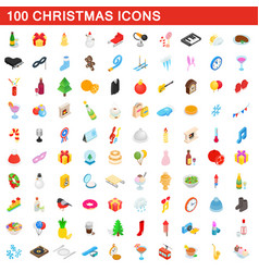 100 christmas icons set isometric 3d style vector image