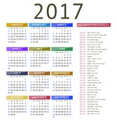 Calendar template for 2017 vector