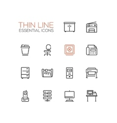 Office supplies - thin single line icons set vector
