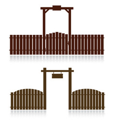 Set of wooden fences isolated on white vector