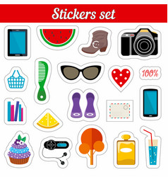 Stickers set cartoon patch badges vector
