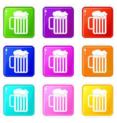 Beer mug icons 9 set vector