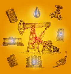 Oil industry drawn elements vector