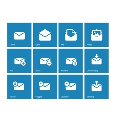 Envelope icons on blue background vector