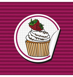Blackberry cupcake cartoon sticker over background vector