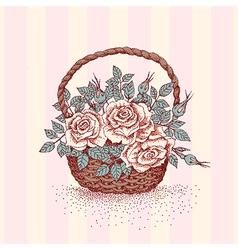 Basket rose vector